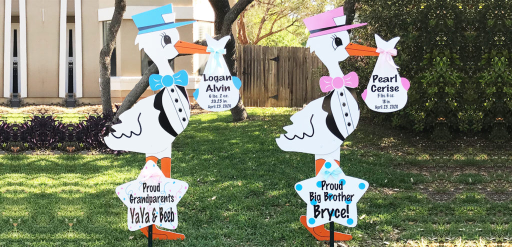 Twin Stork Signs, Stork Sign Rental in St Mary and Lower Calvert County, MD